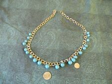 Turquiose-blue beads on silver-plated chain for crafts-jewelry making etc.