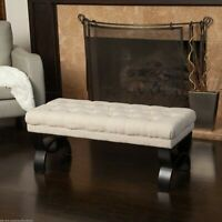 Colette Contemporary Button Tufted Light Beige Fabric Ottoman Bench