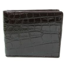 New Genuine Alligator Crocodile Leather Skin Mens Bi-fold Dark Brown Wallet.