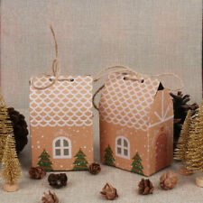 10Pcs Christmas Gift Bags House Candy Cookie Sweets Packaging Party Box Xmas DIY