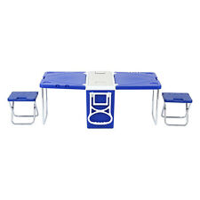 Blue Foldable Multi Function Rolling Cooler Table Picnic Camping Party W/chair*2