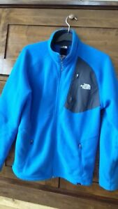 Mens The North Face Blue/Grey Fleece Zipped Top Small