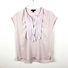 J. Crew 00 Pink Blouse Pleat Front Short Sleeve Grosgrain Ribbon Top B70