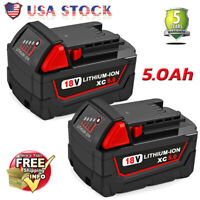 2x For Milwaukee M18 18V XC 5.0 Lithium-ion Battery 48-11-1852 18 VOLT Compact