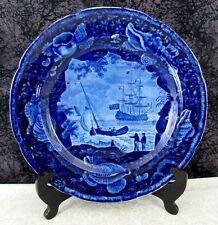 "Antique Staffordshire Cadmus Historical Dark Blue Transferware 10"" Dinner Plate"