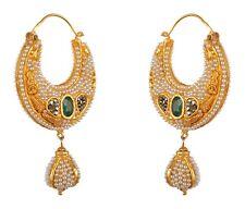 Reversible 24k Gold Foil Earrings Navrattans Handmade Stone Stud Chandbali
