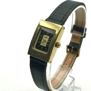 Women Analog Watch Rectangle Golden Black Bicolored Quartz Luch VYMPEL Gift NEW
