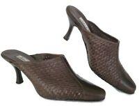 Mule Heels Womens 8 WW John David Slip On 3.5 in Hi Shoes Woven Brown Leather