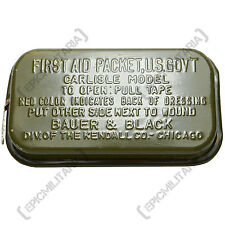 Original Carlisle Model First Aid Packet - WW2 Genuine Soldier Kit Tin Army Box