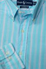Polo Ralph Lauren Men's Miami Blue & Pink Stripe Cotton Dress Shirt 15 x 33