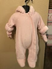 BEBE D AMOUR 0-3 Months Baby Girls Snowsuit Winter Hearts Pink Detachable Gloves