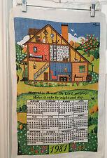"Vintage 1981 Calendar Tea Towel Bob Goryl Country House ""Bless This House"""
