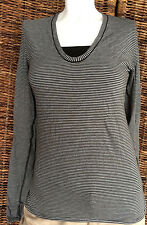 Lululemon Circadian Long Sleeve V-Neck Tee Size 6 MiniPop Stripe W/lulu Bag $68