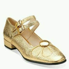 SIZE 5 US 7  ORLA KIELY GOLD SPARKLY LEATHER ANGELINA WOMENS SHOES NEW XMAS GIFT