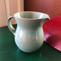 "4"" Peter Potts Green Cream Pitcher Sage green Ceramic Pottery RI USA signed"