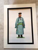 Vintage Moda Stampa Mongolo National Costume Khalkha Mongoli Abito Art
