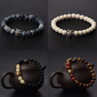 2017 New Mens Spot Natural Lava Stone Gold Silver Owl 8MM Beaded Charm Bracelets