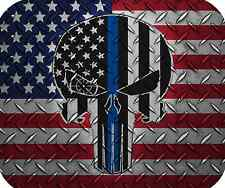 Thin Blue Line Punisher Mouse Pad - Police Mouse Pad - Diamond Plate 2