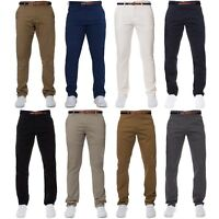 Enzo Mens Chinos Stretch Trousers Free Belt Slim Fit Big Tall Cotton Pants Jeans