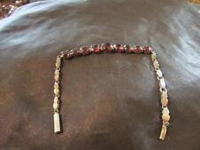 Beautiful Art Deco Quality Solid Silver & Garnet Articulated Bracelet