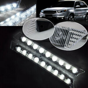 2x White 9 LED Grille Daytime Running Lights for Jeep Compass Renegade Cherokee