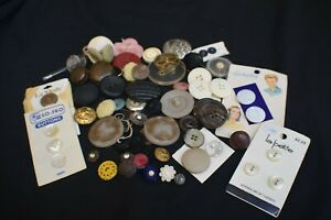 Lot Of Vintage Antique Buttons Plastic Glass Metal
