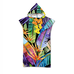 Floral Flowers Swim Beach Hooded Towel Coverup Poncho Adult Kids Gift