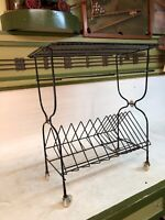 VINTAGE MID CENTURY WIRE STAND RECORD PLAYER ALBUM 45s MCM PLANT Stand & CASTERS
