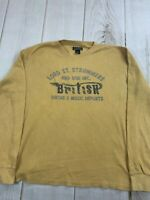 Lucky Brand Womens Round Neck Long Sleeve Mustard Yellow T Shirt Size XL