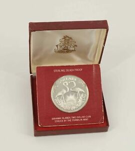 1973 Bahamas Two Dollar Flamingo Sterling Silver Proof Coin w/Box - Free Ship US