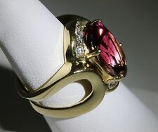 Heavy Estate 9.15ct Pink Tourmaline & Diamond 14k Gold Ring with IGA CERTIFICATE