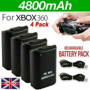 4 Pack Battery & Charger Cable for Microsoft Xbox 360 Wireless Controller White
