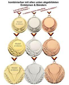 50 Medaillen (Farbzusammenstellung nach Wunsch) mit Emblem, Band, Text