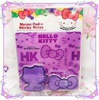 RARE NEW Hello kitty 35th Anniversary PURPLE Mouse Pad, Sticky Note Pads SANARIO