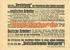 """DNVP-Flugblatt (~1921):WIE DIE """"VEREINIGUNG"""" DER PROLETARIER ALLER LÄN. AUSSIEHT"""