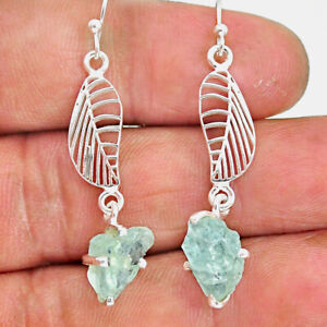 8.23cts Natural Aqua Aquamarine Raw 925 Silver Deltoid Leaf Earrings R90693