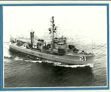 Uss Jackdaw Ams-21 Mine Sweeper Starboard Bow View Black & White Photo Mounted