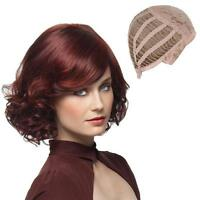 Womens Lolita Curly Wavy Wine Red Short Wigs Cosplay Party Full Hair Wigs New