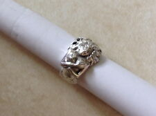 Heavy sterling silver figural mermaid lady ring semi nude filigree hair size 10