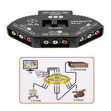 3-Way Audio Video AV RCA Switch Selector Box Splitter Black Color Accessories