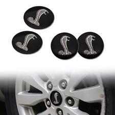 4x 56MM COBRA BLACK WHEEL CENTER CAP DECAL STICKER FOR MUSTANG GT SHELBY 500