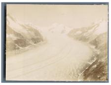 Suisse, Glacier d'Aletsch Vintage citrate print. Tirage citrate  8x11