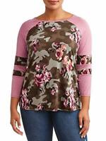 Eye Candy Women's Plus Size Raglan Sleeve Scoop Neck Top Contrast Printing 2X