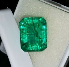 10.27 Ct Loose Gemstone Natural Green Colombian Emerald Certified Transparent