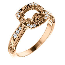10K Rose Gold 6.5mm Round Sculptural-Inspired Halo-Style Semi Mount Bridal Ring
