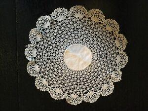 antique lace white cotton doilie fine crochet work 27cm diameter tea and cake
