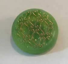 Vintage Glass Button - Green with Gold Luster Damask