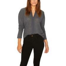 Sanctuary Womens Hanna Gray Split Neck Long Sleeve Sweater Top XS BHFO 9366