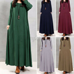 US STOCK Women Muslim Kaftan Abaya Vintage Oversized Solid Long Maxi Shirt Dress