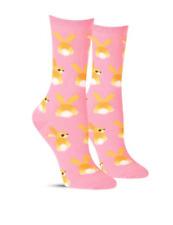 Easter Bunnies Socks PINK Hot Sox Women's Bunny Tails Rabbit Sock Shoe Size 4-10